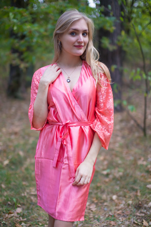 Watermelon Pink Luxurious Silk Robe with Silk Chiffon Devore Sleeves