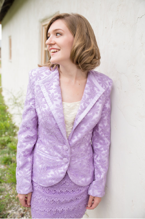 Lilac Lamour Bridesmaids Lace Suit for a Winter Wedding
