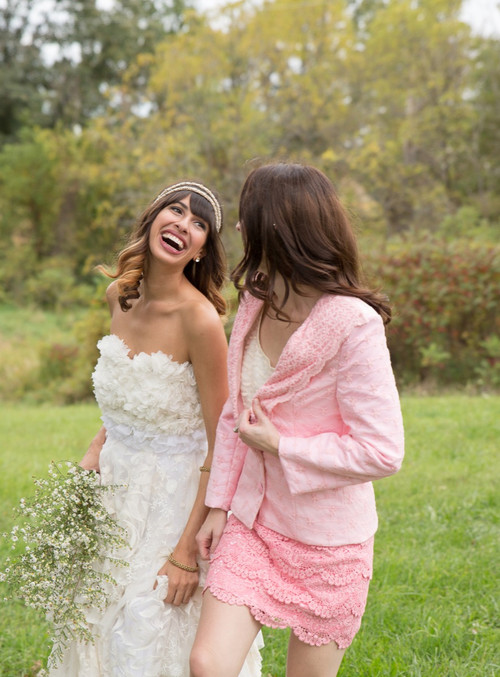 Pretty in Pink Bridesmaids Lace Suit for a Winter Wedding