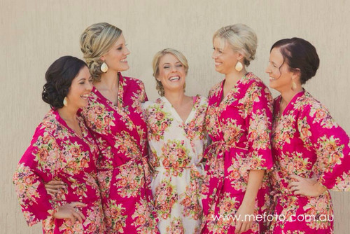 Magenta Floral Posy Robes for bridesmaids