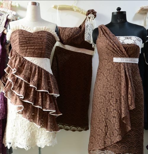 Dreamy Brown Wedding Palette Lace Bridesmaids Dresses