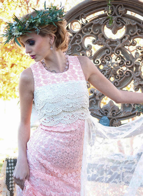 Charming Peach Haute Couture Lace Dress