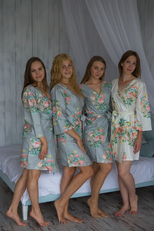 Dreamy Angel Song Pattern - Premium Gray Bridesmaids Robes
