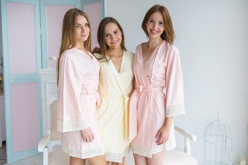 Solid Blush Ivory Rayon Lace Trim Robes
