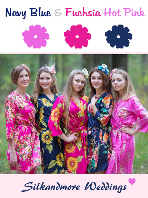 Navy Blue and Hot Pink Wedding Color Robes