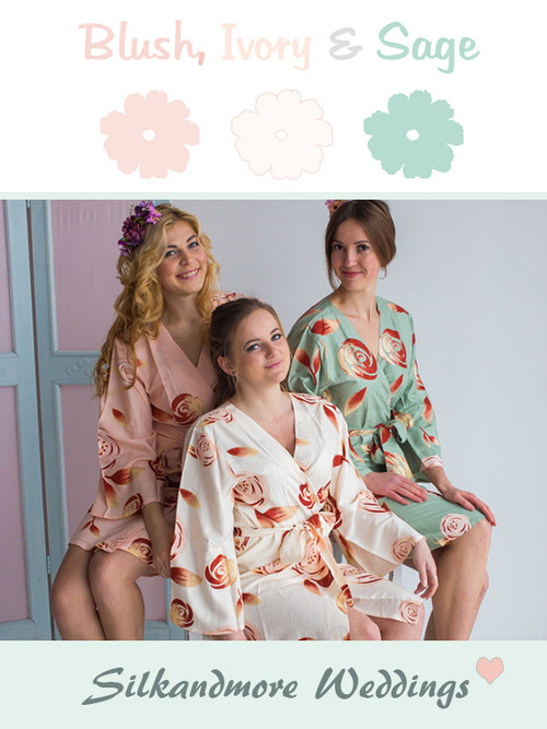 Blush, Ivory and Sage Wedding Color Robes
