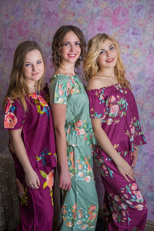 Sage and Plum Wedding Color PJs in Off-Shoulder Style_full length