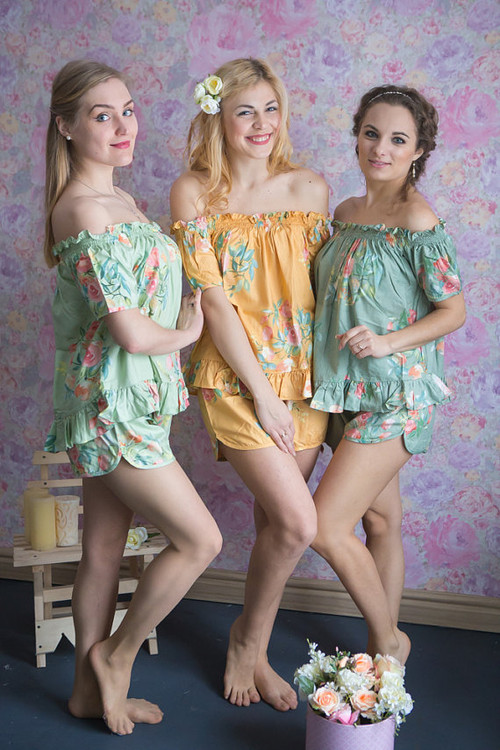 Mint, Sage and Mustard Gold Wedding Color PJs in Off-Shoulder Style