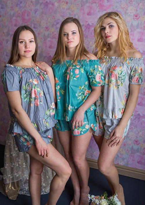Silver, Gray and Teal Wedding Color PJs in Off-Shoulder Style in Smiling Blooms Pattern