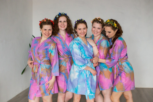 Pink Batik Watercolor Robes for bridesmaids | Getting Ready Bridal Robes