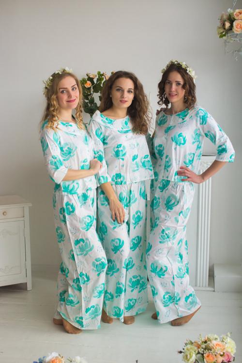 Boat Neckline Style long PJs in Blushing Flowers Pattern