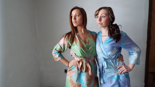 White Blue Batik Watercolor Robes for bridesmaids | Getting Ready Bridal Robes