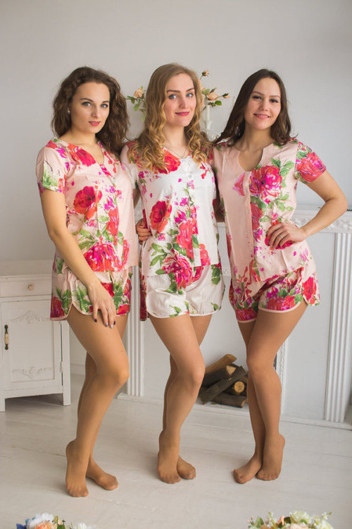U-shaped neckline Style PJs in Fuchsia Large Floral Blossom Pattern