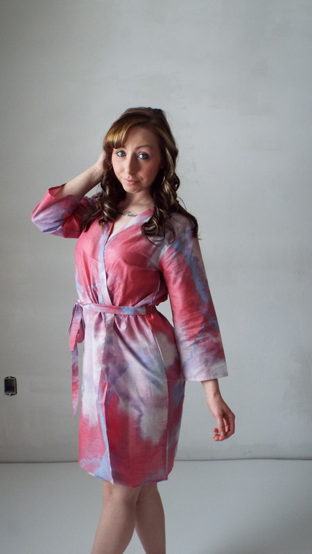 White Raspberry Batik Watercolor Robes for bridesmaids | Getting Ready Bridal Robes