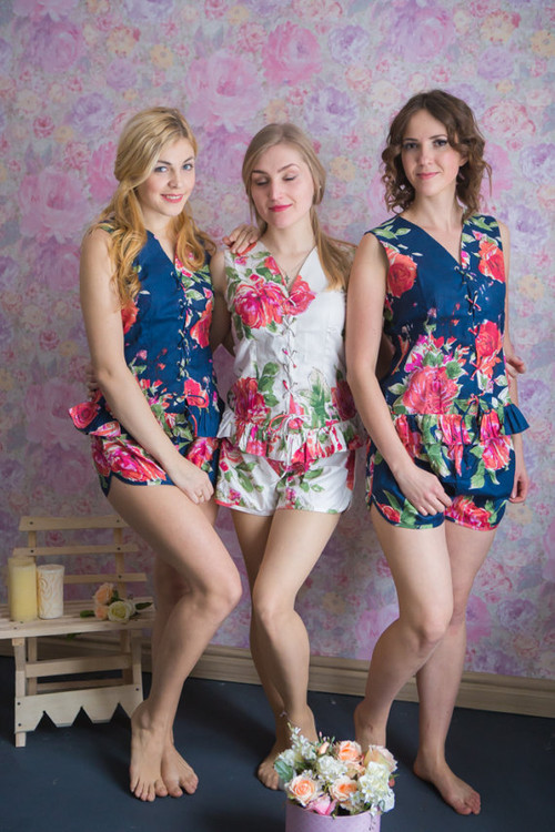 Corset Style PJs in Fuchsia Large Floral Blossom Pattern
