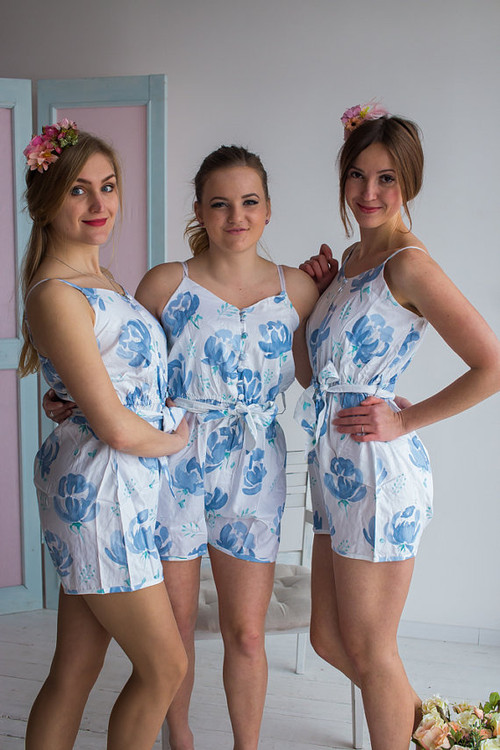 Belted Slip Style Bridesmaid Rompers in Lilac Blushing Flowers Pattern