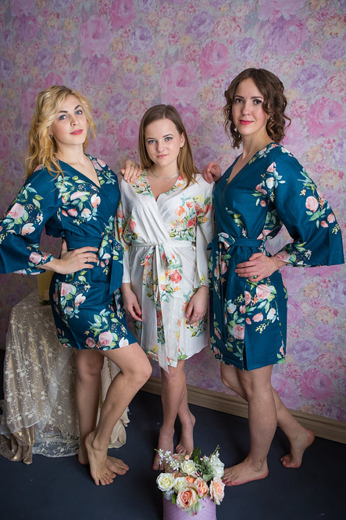 Dreamy Angel Song Pattern- Premium Dark Teal Blue Bridesmaids Robes