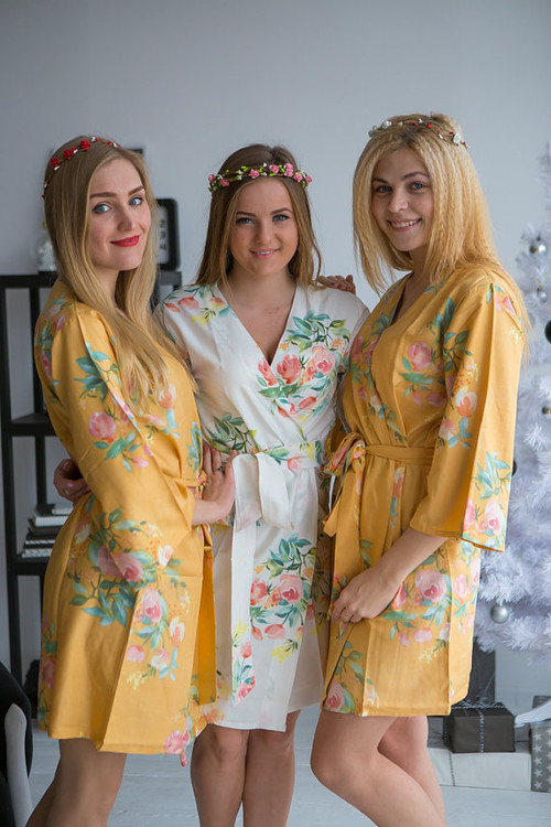 Dreamy Angel Song Pattern-Premium Mustard Gold Bridesmaids Robes