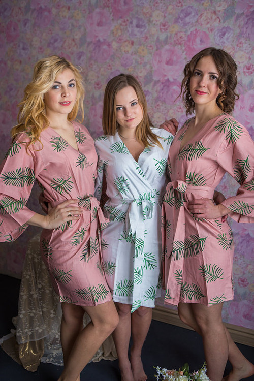 Tropical Delight Pattern- Premium Rosegold Bridesmaids Robes