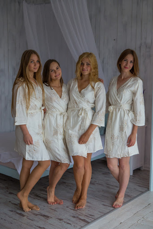 Floral Sketch Pattern- Premium White Gold Bridesmaids Robes