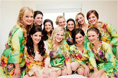Green Large Floral Blossom Robes for bridesmaids | Getting Ready Bridal Robes