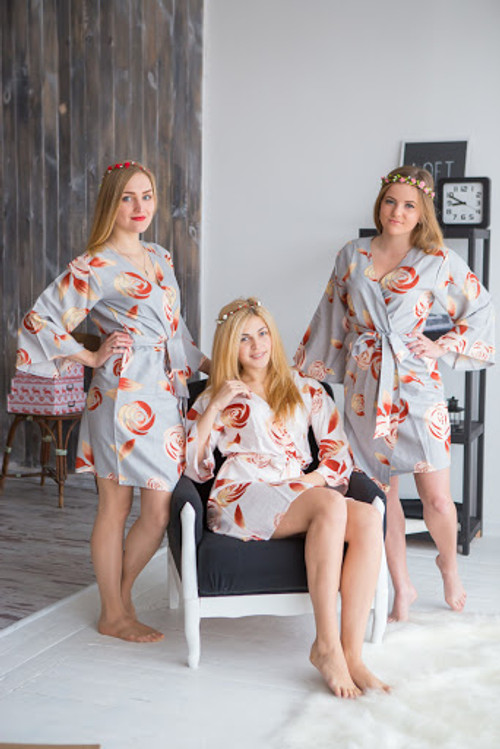 A rumor among Fairies Pattern- Premium Silver Bridesmaids Robes