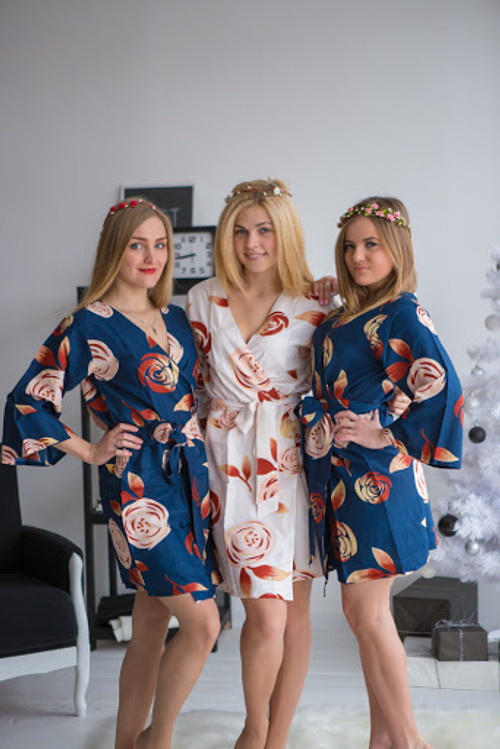A rumor among Fairies Pattern- Premium Navy Blue Bridesmaids Robes