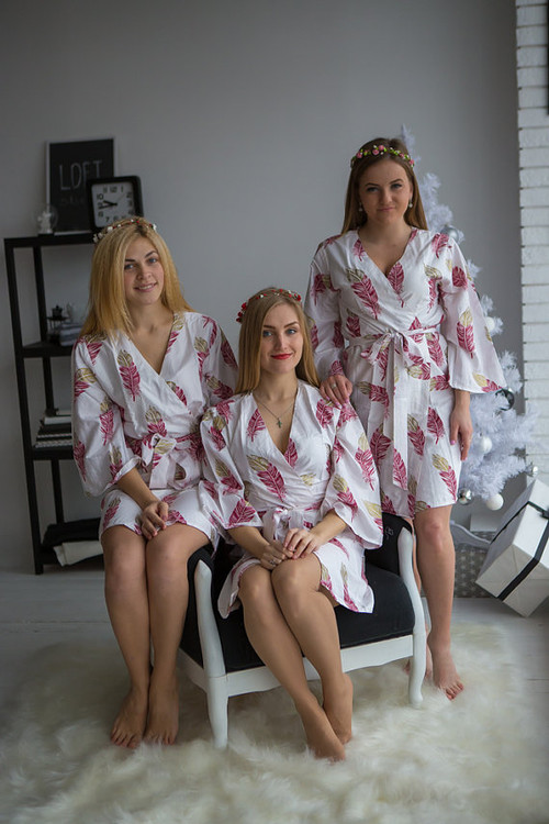 A feather rhyme Pattern- Premium Plum Gold Bridesmaids Robes