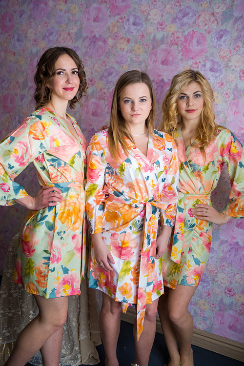 Her Petal Garden Pattern- Premium Mint Bridesmaids Robes