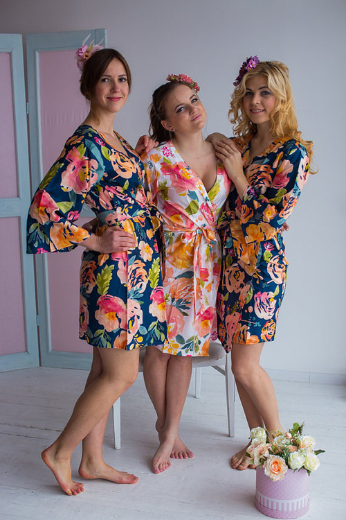Her Petal Garden Pattern- Premium Navy Blue Bridesmaids Robes