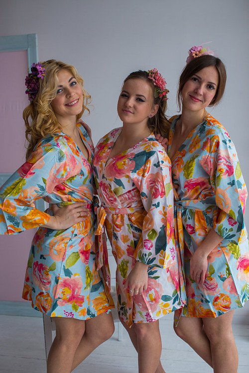 Her Petal Garden Pattern- Premium Light Blue Bridesmaids Robes