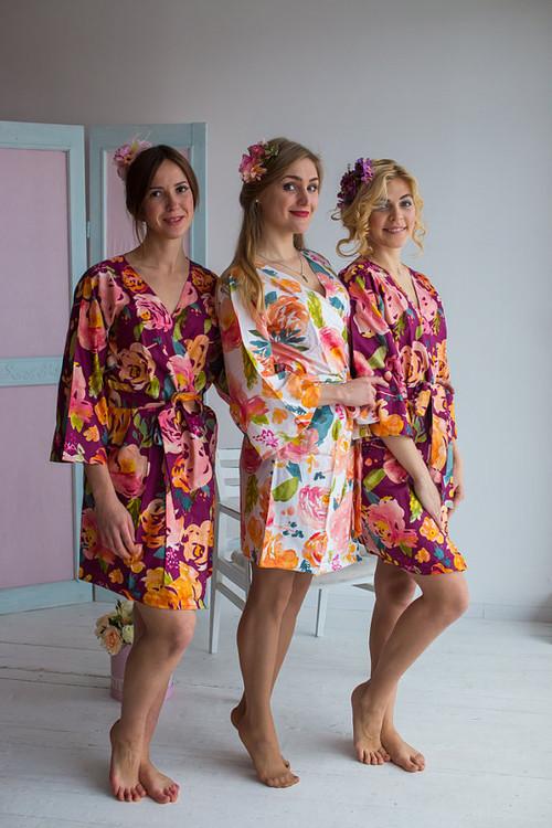 Her Petal Garden Pattern- Premium Plum Bridesmaids Robes