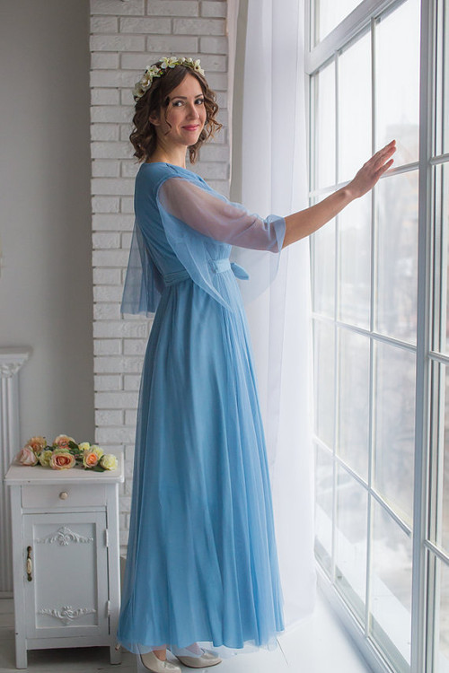 Dusty Blue Bridal Robe from my Paris Inspirations Collection - Minimal Mojo in Dusty Blue