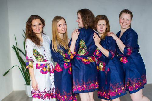 Navy Blue Big Butterfly themed wedding Robes for bridesmaids | Getting Ready Bridal Robes