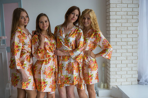 Blush Floral Posy Silk Bridesmaids robes | Getting ready robe