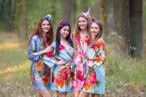 Large Floral Blossom Silk Bridesmaids Robes