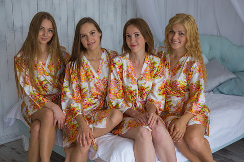 White Floral Posy Silk Bridesmaids robes