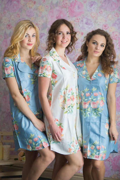 Dreamy Angel Song Patterned Bridesmaids Getting Ready Shirts