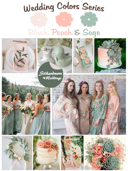Blush, Peach and Sage Wedding Colors Palette