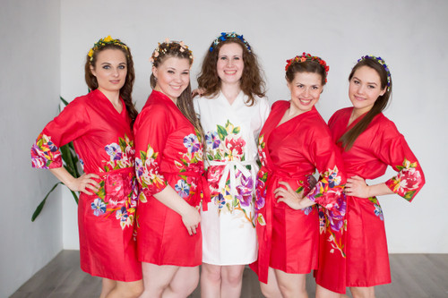 Red One long flower pattered Robes for bridesmaids | Getting Ready Bridal Robes