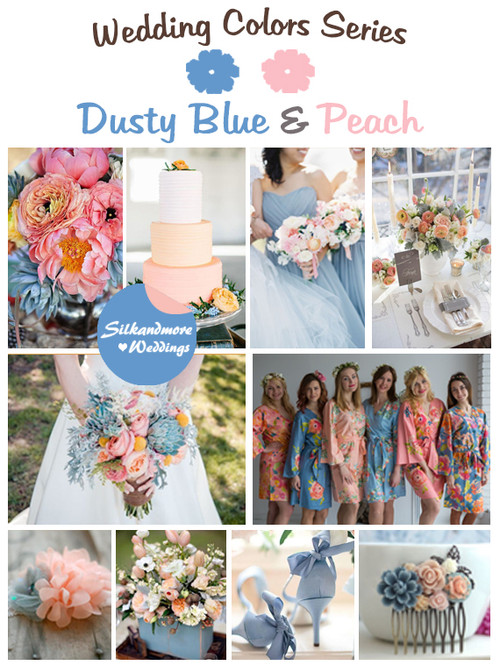 Product - Dusty Blue and Peach Wedding Colors Palette
