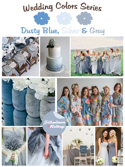 Dusty Blue, Silver and Gray Wedding Colors Palette