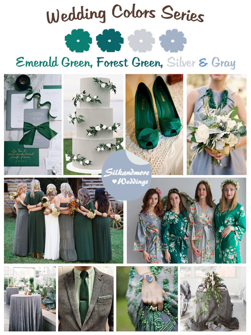 Emerald Green Forest Silver And Gray Wedding Colors Palette