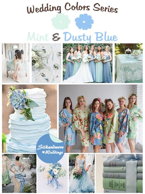 Mint and Dusty Blue Wedding Colors Palette
