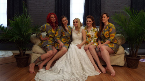 Gray Blue Sunflower Robes for bridesmaids | Getting Ready Bridal Robes