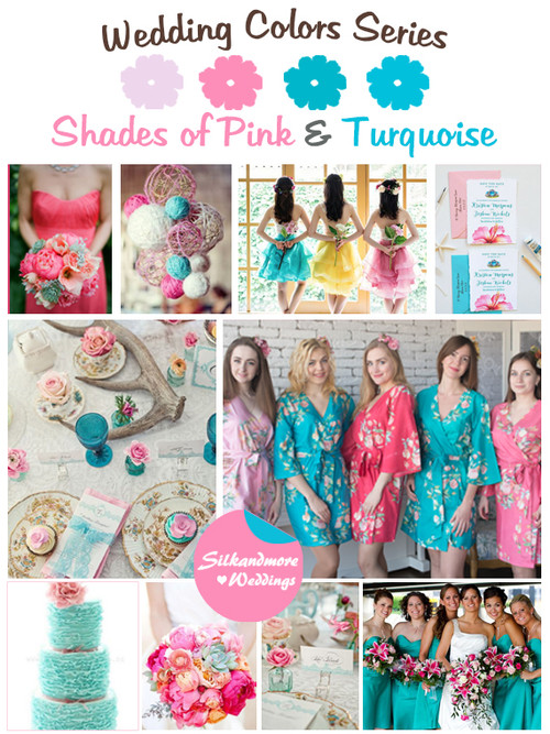 Shades Of Pink And Turquoise Wedding Color Palette