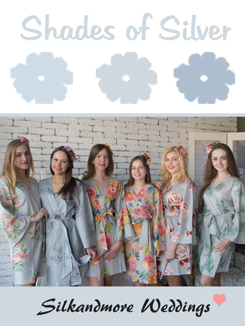 Shades of Silver Wedding Color Robes - Premium Rayon Collection