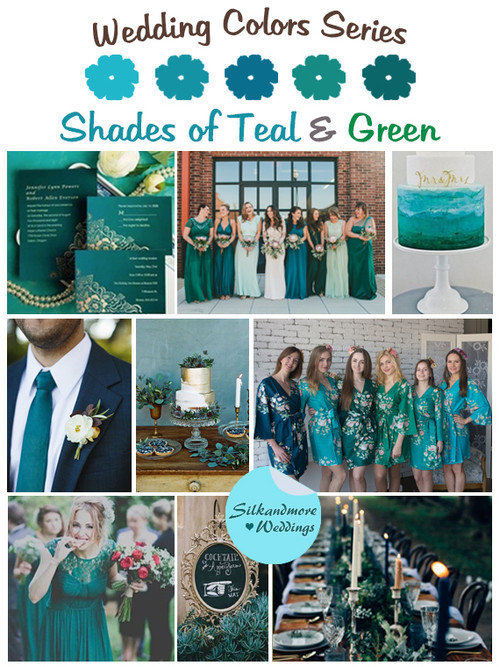 Shades of Teal and Green Wedding Color Palette