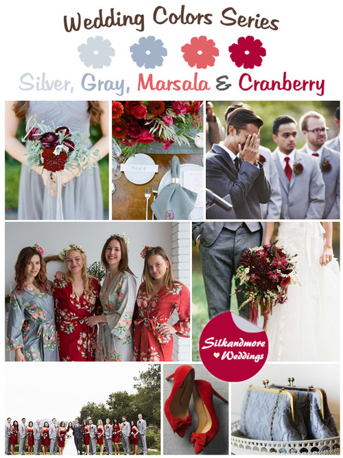 Silver, Gray, Marsala and Cranberry Wedding Color Palette