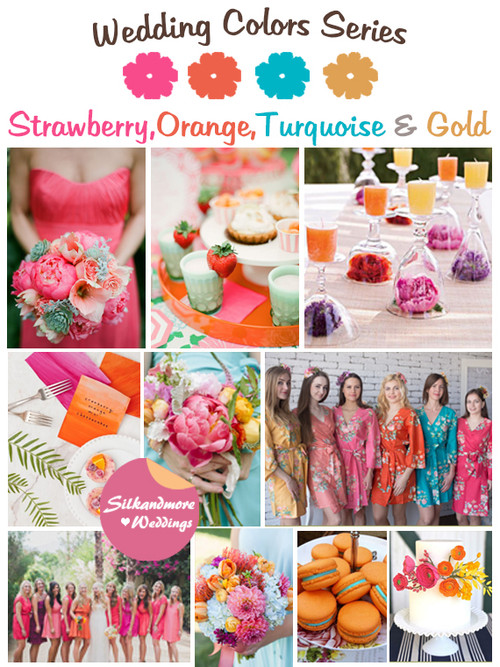 Strawberry, Orange, Turquoise and Gold Wedding Color Palette